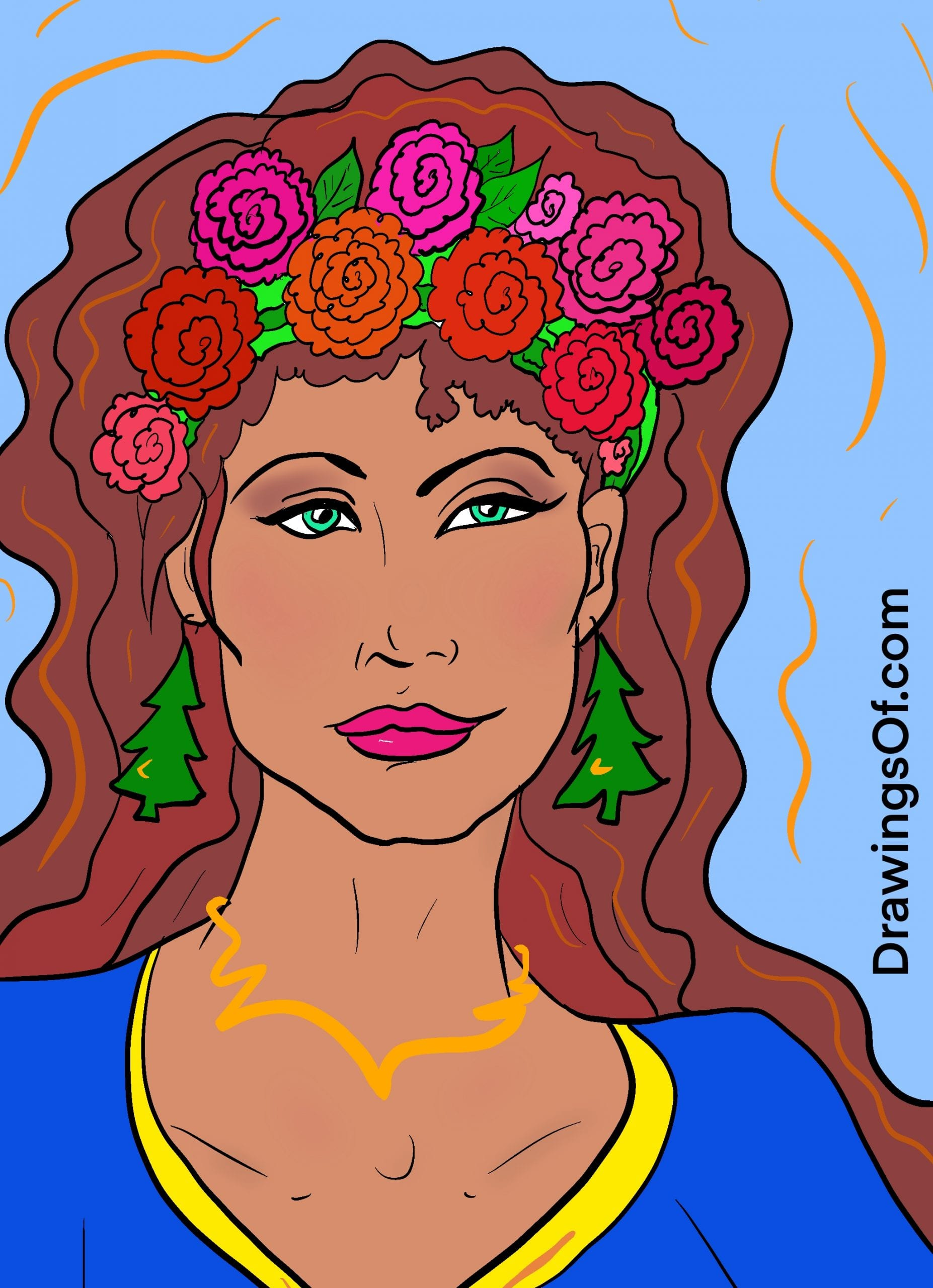 Drawing of beautiful woman with flower crown and Christmas tree earrings