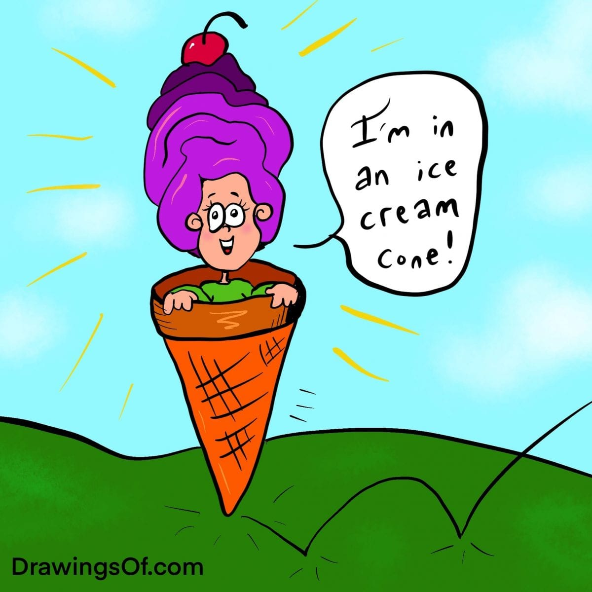 Cartoon person inside ice cream cone with cherry on top