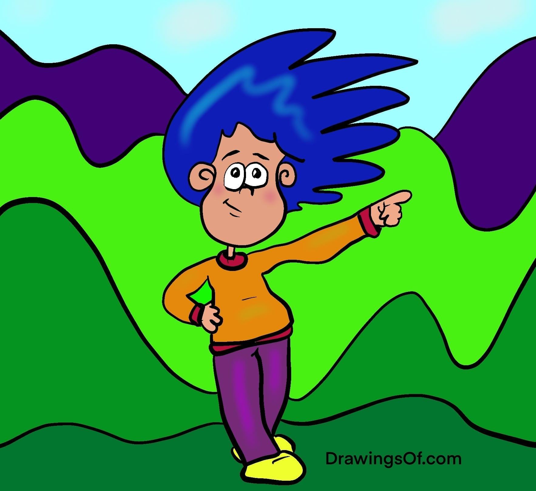 Blue hair cartoon pointing