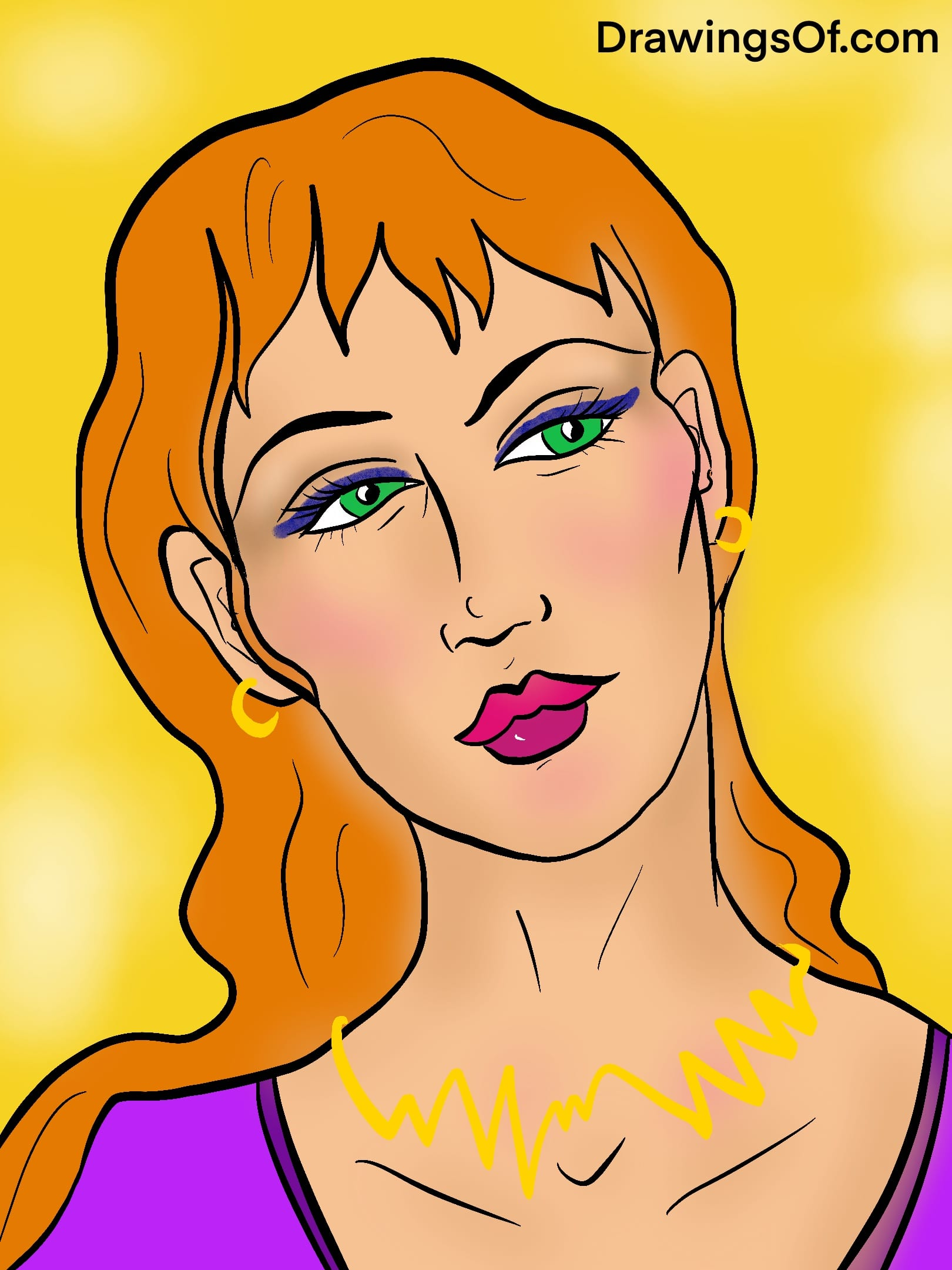 Line drawing of woman with orange hair and makeup