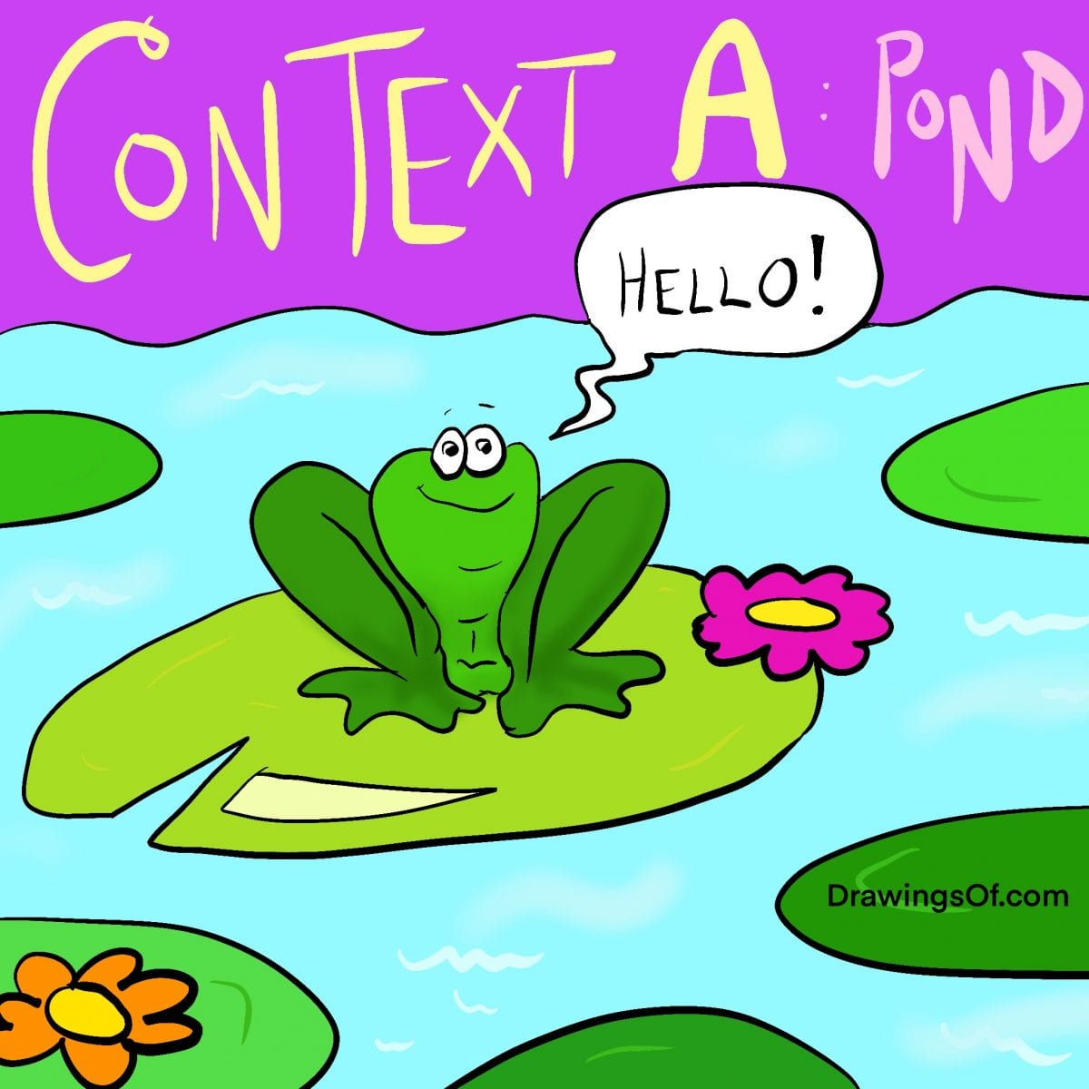 Context example art: Frog cartoon in pond