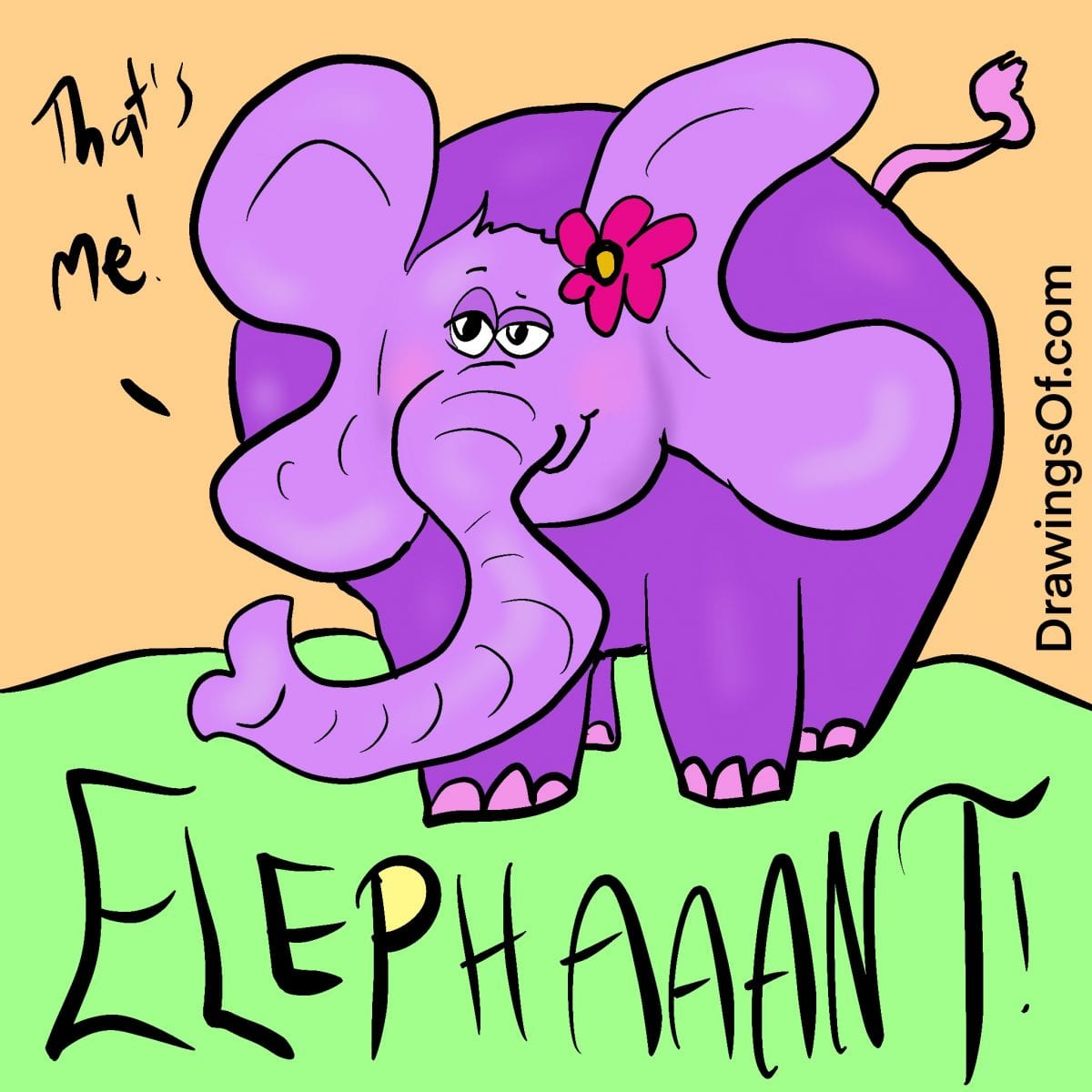 Happy purple elephant cute cartoon drawing with flower behind its ear