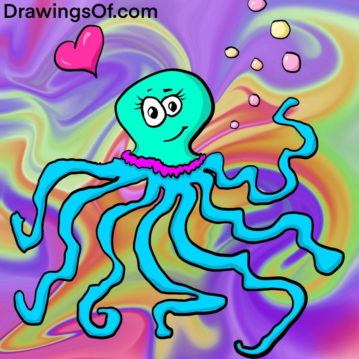 Marine life drawing: cute cartoon of jelly octopus