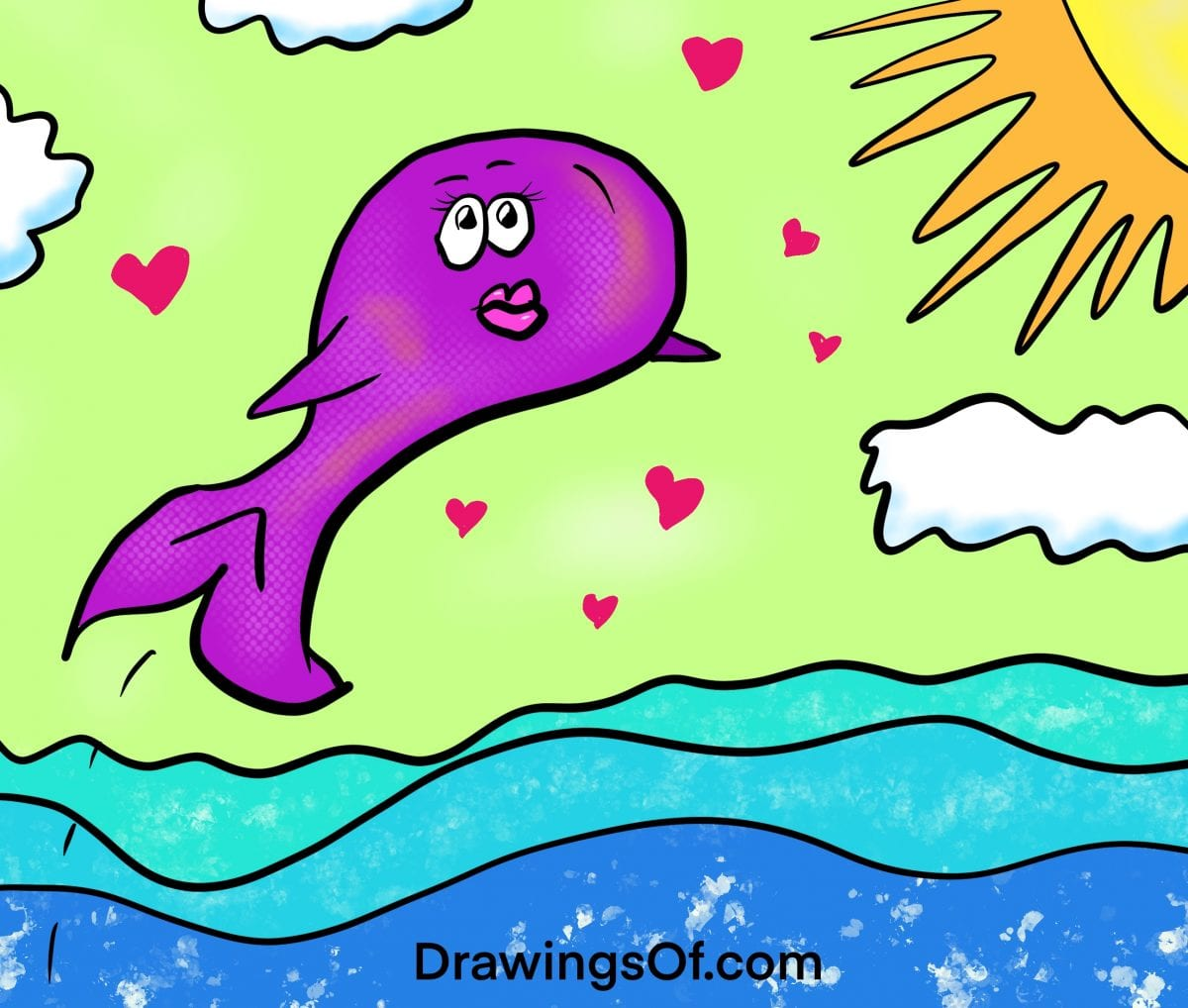 Cartoon whale fish drawing