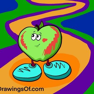 Apple cartoon walking on path
