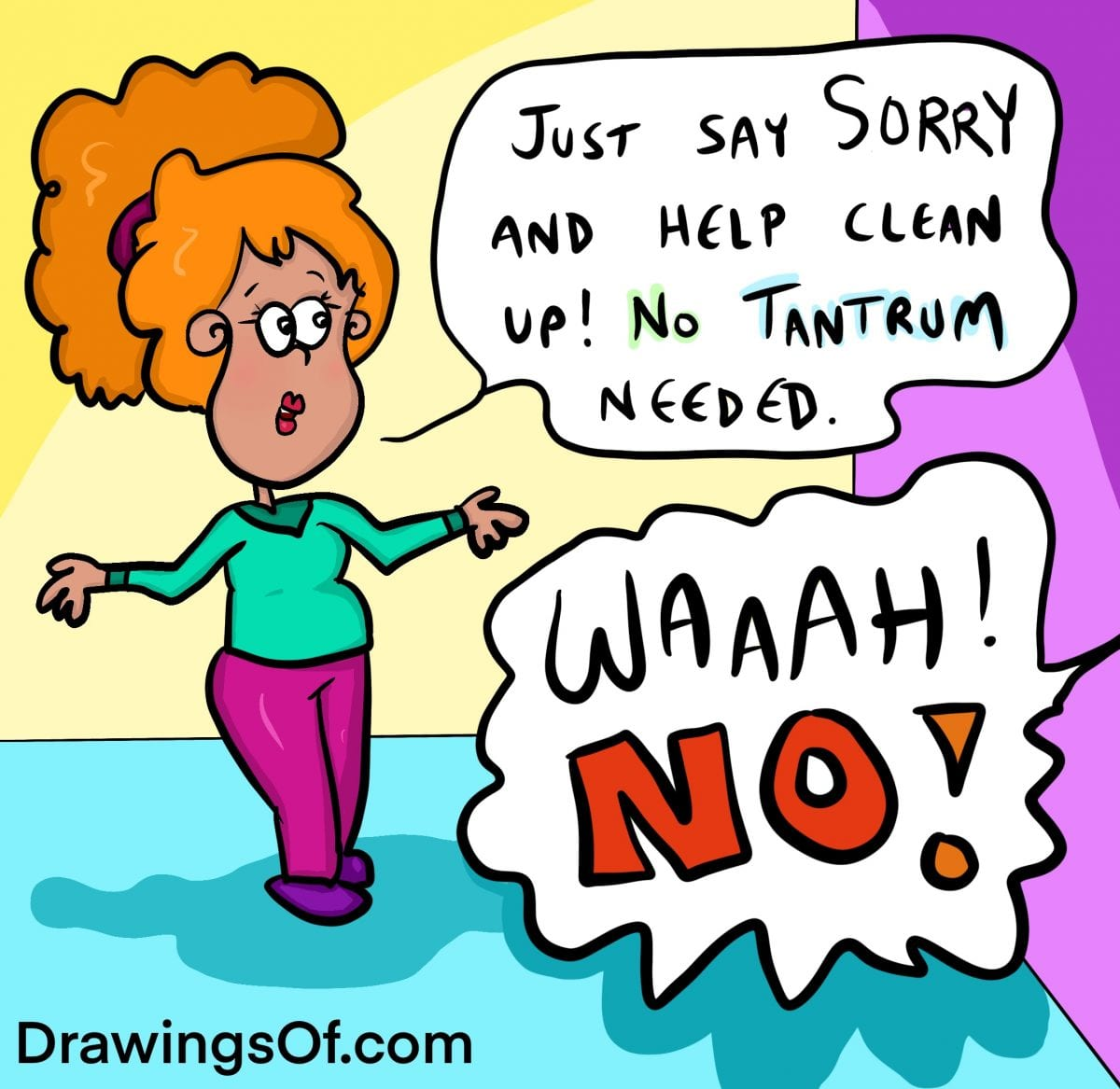 Cartoon mother gives advice on what a child should do after messing up, but child says no and has tantrum.