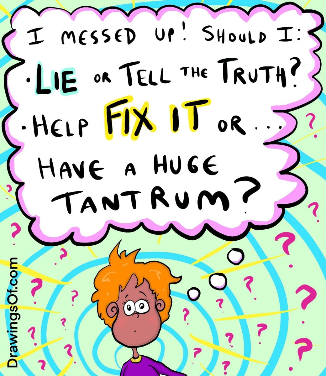 Child deciding what to do after messing up: lie and hide or tell the truth and help?