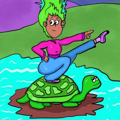 Cartoon woman riding turtle