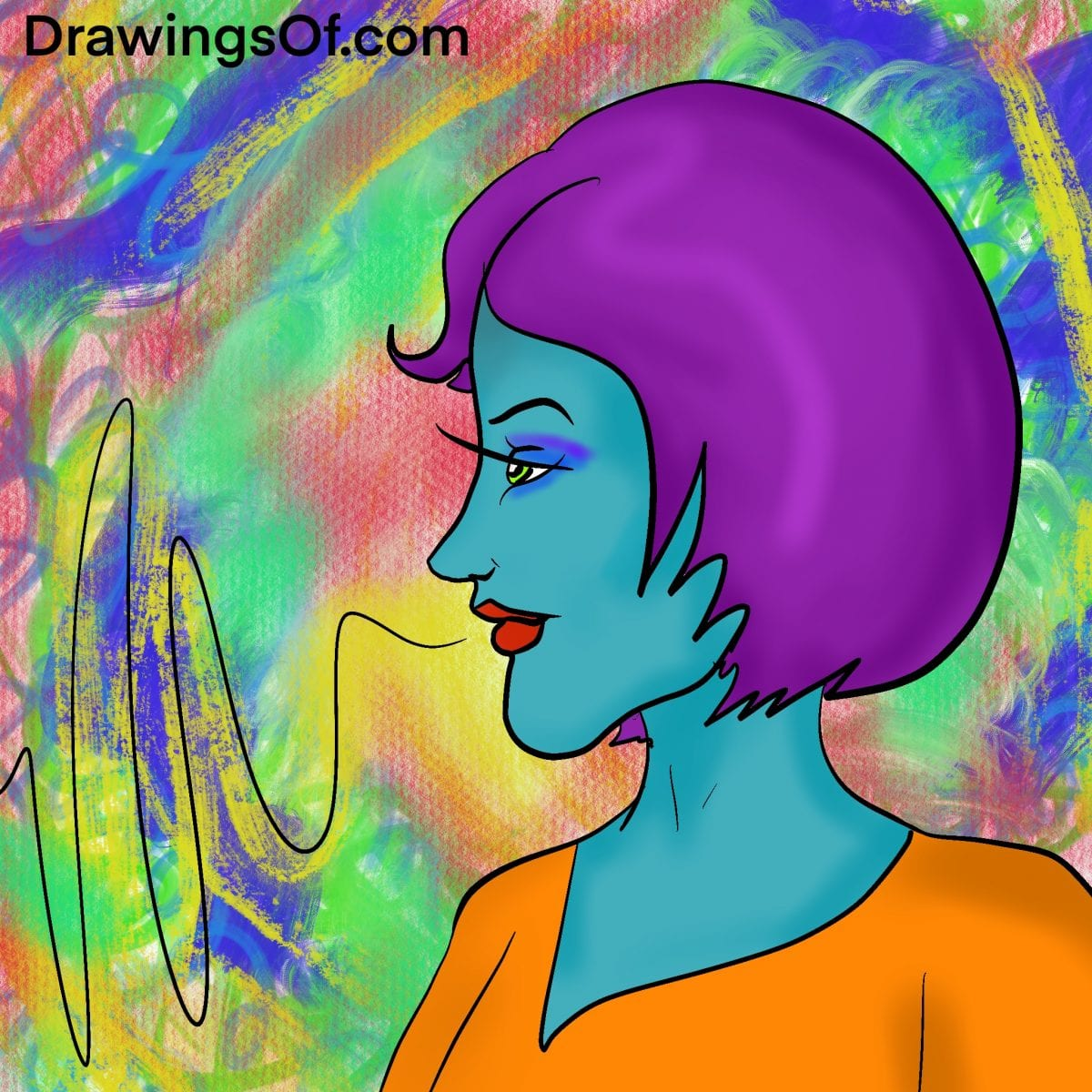 Blue skin purple hair drawing of a woman