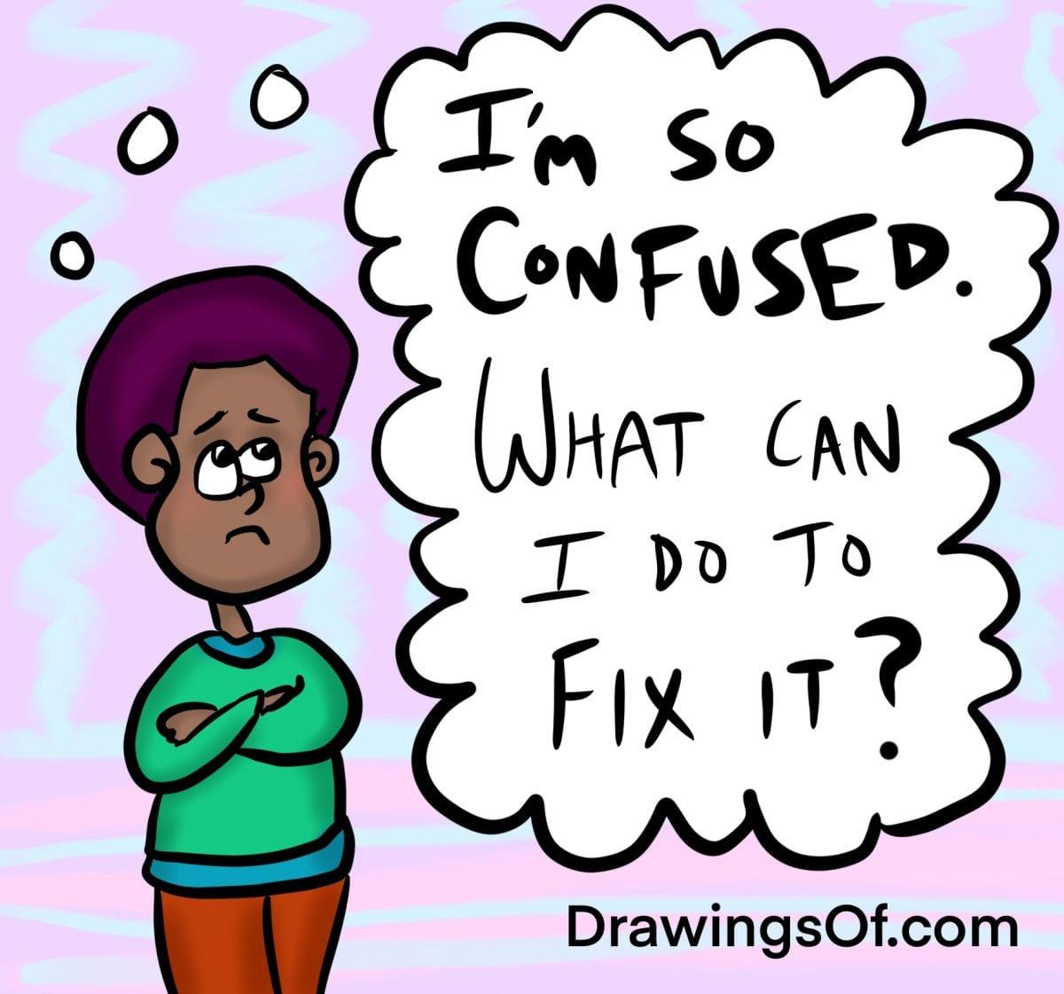 Confused student cartoon